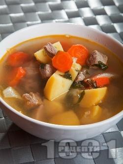 Вкусно телешко варено със зеленчуци - картофи, моркови и лук - класическа телешка супа - снимка на рецептата